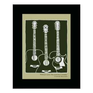 printed acoustic guitars poster