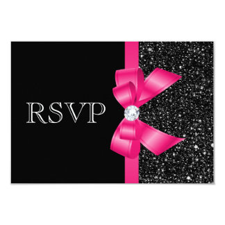 "Printed Black Sequins and Hot Pink Bow RSVP 3.5"" X 5"" Invitation Card"
