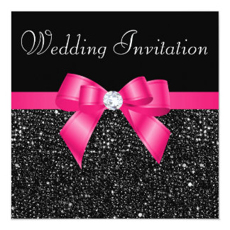 "Printed Black Sequins and Hot Pink Bow Wedding 5.25"" Square Invitation Card"