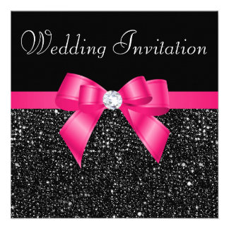 Printed Black Sequins and Hot Pink Bow Wedding Personalized Invites