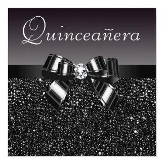 "Printed Black Sequins, Bow & Diamond Quinceanera 5.25"" Square Invitation Card"