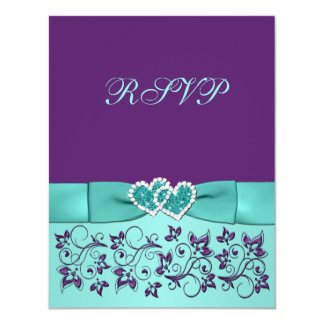 PRINTED BOW Aqua, Purple Floral Wedding RSVP card
