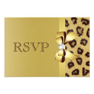 Printed Bow Diamond Leopard Print RSVP Announcement