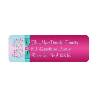 PRINTED BOW Pink, Aqua Floral Return Address Label
