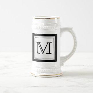Printed Custom Monogram. Black and Pale Gray. Coffee Mug