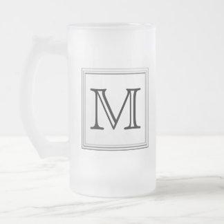 Printed Custom Monogram. Black and White. Frosted Glass Mug