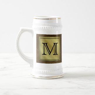 Printed Custom Monogram Image. Brown. Beer Stein