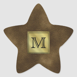 Printed Custom Monogram Image. Brown. Star Sticker