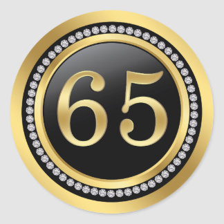 Printed diamonds 65th Wedding Anniversary Classic Round Sticker
