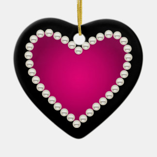 Printed faux pearls and pink heart ceramic heart ornament