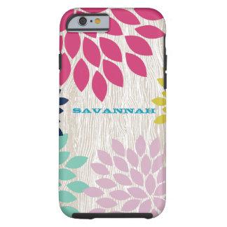 Printed Faux Wood Pattern Chrysanthemum Floral Tough iPhone 6 Case