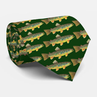 Printed Front and Back Brown Trout Fishing Tie