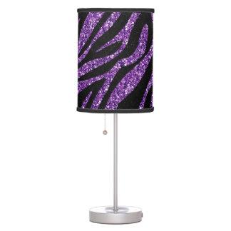 Printed Glitter Effect Purple Zebra Animal Print Table Lamp