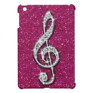 Printed Glitzy Sparkly Diamond Music Note Case For The iPad Mini