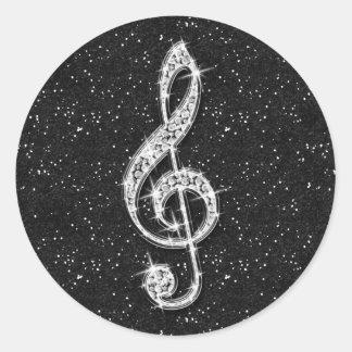 Printed Glitzy Sparkly Diamond Music Note Classic Round Sticker