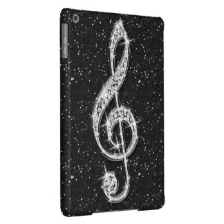 Printed Glitzy Sparkly Diamond Music Note iPad Air Cover