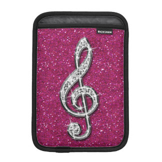 Printed Glitzy Sparkly Diamond Music Note iPad Mini Sleeves
