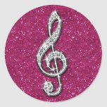 Printed Glitzy Sparkly Diamond Music Note Round Sticker