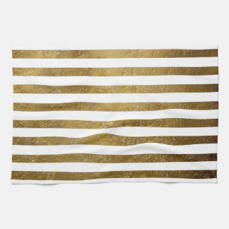printed gold color stripes kitchen towel