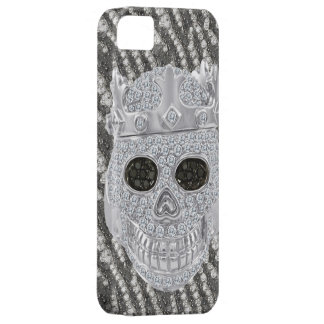 Printed Gothic Skull with Crown Diamonds Ornament iPhone 5 Cover