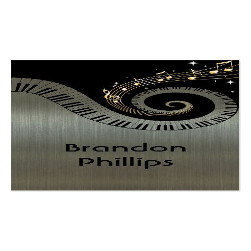 Printed Metallic Effect Piano Keys Gold Music Double Sided