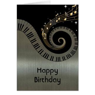 Printed Metallic effect Piano Keys Gold Music Greeting Card