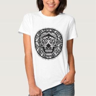 Printed metallic silver effect sugar skull shirt