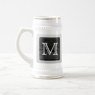 Printed Pattern and Custom Letter. Black and White Beer Stein