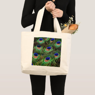 Printed Peacock Feather Tote