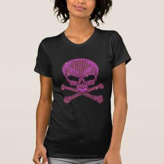 Printed Pink Rhinestone Skull Crossbones T Shirt