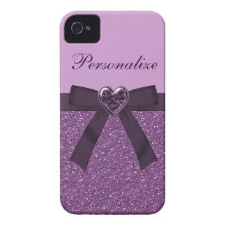 Printed Purple Glitter, Bow & Heart Jewel iPhone 4 Case-Mate Case