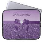 Printed Purple Sequins, Bow & Diamond Laptop Sleeve