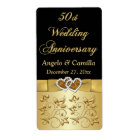 PRINTED RIBBON 50th Wedding Anniversary Wine Label
