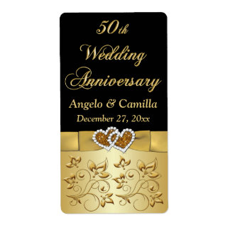 PRINTED RIBBON 50th Wedding Anniversary Wine Label Shipping Label