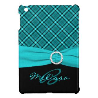 PRINTED RIBBON Aqua Black Plaid iPad Mini Case