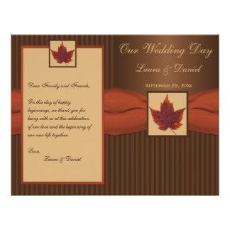 PRINTED RIBBON Autumn Leaf, Stripe Wedding Program