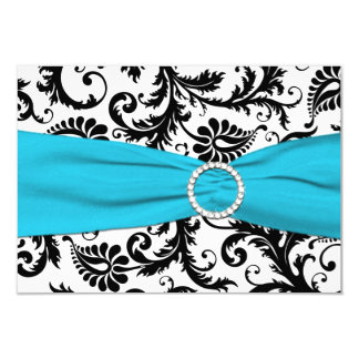 "PRINTED RIBBON Black White Blue Damask Reply Card 3.5"" X 5"" Invitation Card"