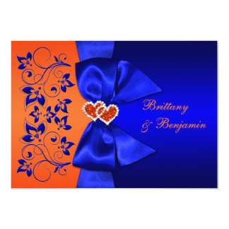 PRINTED RIBBON Blue, Orange Floral Wedding Invite