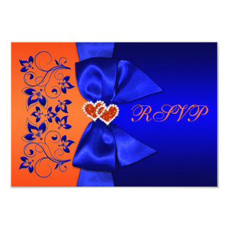 PRINTED RIBBON Blue, Orange Floral Wedding RSVP Card