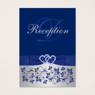 PRINTED RIBBON Blue, Silver Floral Enclosure Card