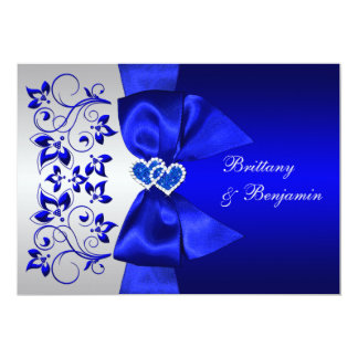 "PRINTED RIBBON Blue, Silver Floral Wedding Invite 5"" X 7"" Invitation Card"