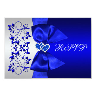 "PRINTED RIBBON Blue, Silver Floral Wedding RSVP 3.5"" X 5"" Invitation Card"