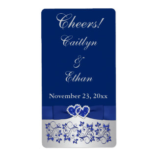 PRINTED RIBBON Blue, Silver Wedding Wine Label