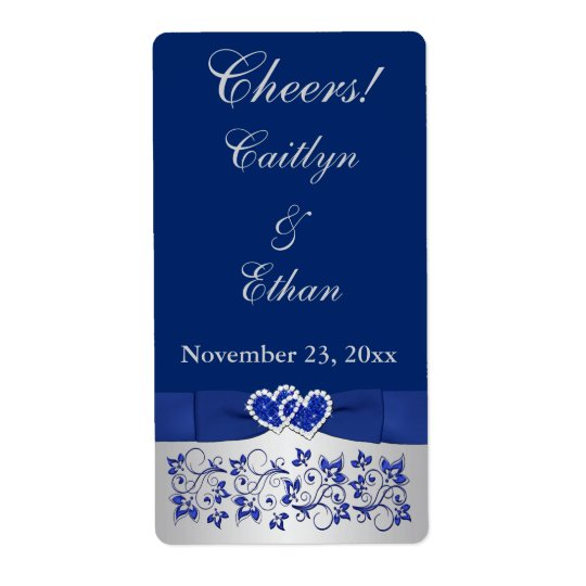 PRINTED RIBBON Blue, Silver Wedding Wine Label