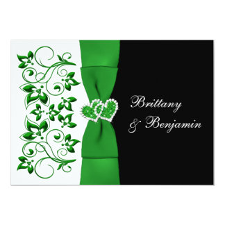 PRINTED RIBBON Green, White, Black Wedding Invite