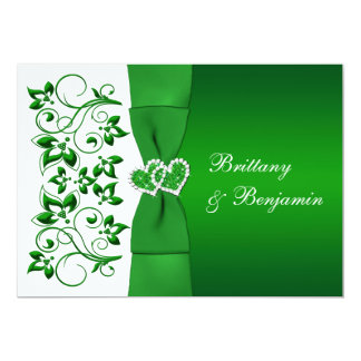 PRINTED RIBBON Green, White Floral Wedding Invite