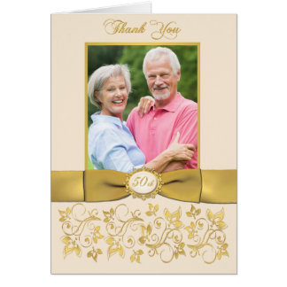 PRINTED RIBBON Ivory Gold Floral Thank You Card