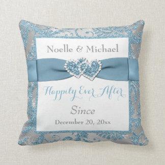 PRINTED RIBBON/JEWELS Winter Wonderland Wedding Throw Pillow