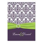 PRINTED RIBBON Lime, Purple Damask Wedding Invite