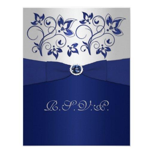 PRINTED RIBBON Navy, Silver Floral RSVP Card
